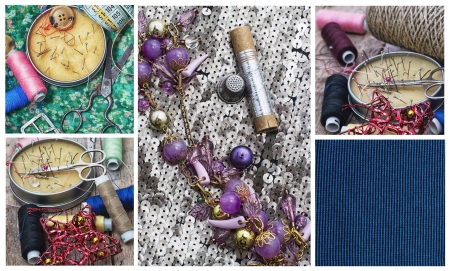 sewing supplies: collage with sewing supplies and samples of fabric  Stock Photo