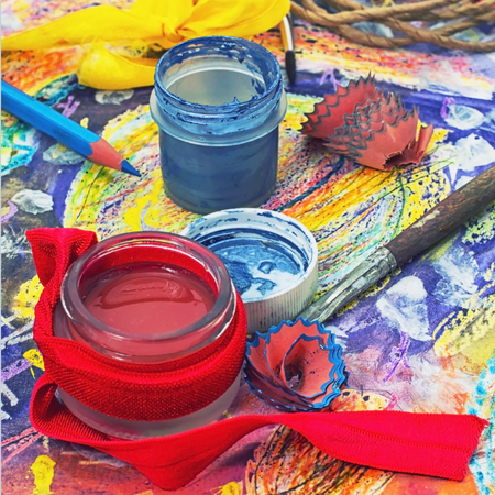 red paint,pencil and accessories for art Stock Photo