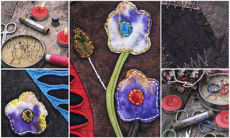 skillfully: collage with a set of old sewing tools and samples textile fabric Stock Photo
