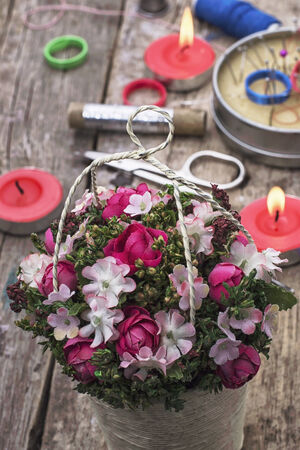 basket embroidery: well as handmade basket in the beautiful flowers