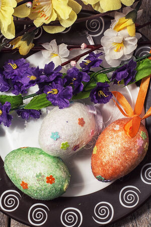 sectarian: Easter composition with decorative eggs and flowers