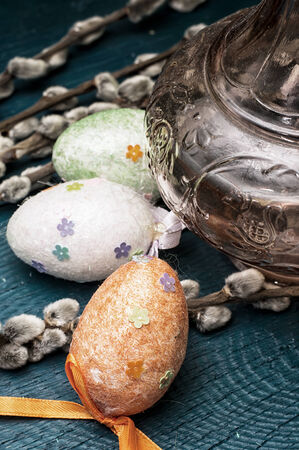 sectarian: Easter composition with eggs and branches of a willow