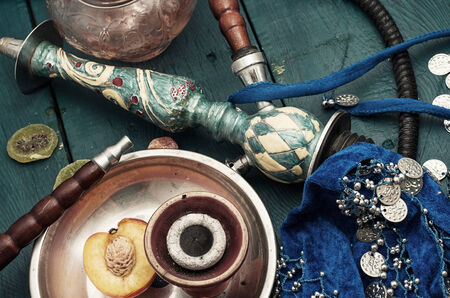 composition with shisha and accessories Stok Fotoğraf