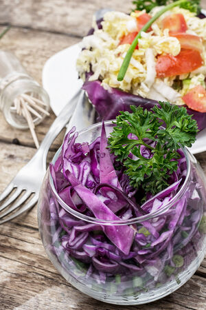 salad from fresh cabbage different varieties Stok Fotoğraf