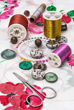 suture: manufacturing of scenery and decorations and sewing accessories Stock Photo