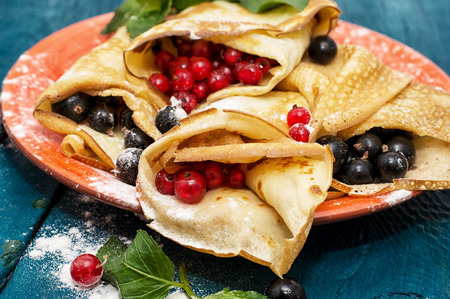 pancake week: home-made pancakes with fruit and berry fillings
