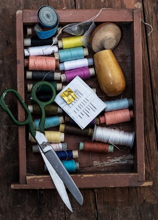 sewing box: set of threads of different types,colors and lengths Stock Photo