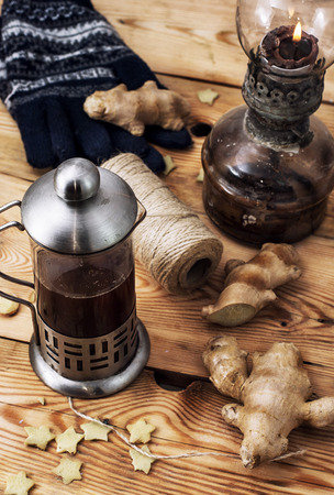 traditional healer: freshly brewed tea with ginger root