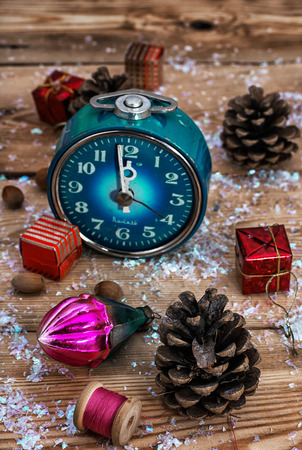 oldfashioned: postcard with old-fashioned clock and Christmas toy