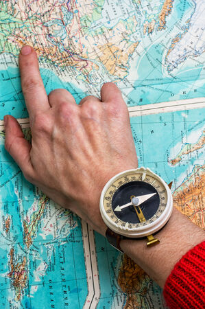 indicate: hand to indicate the route on topographic map