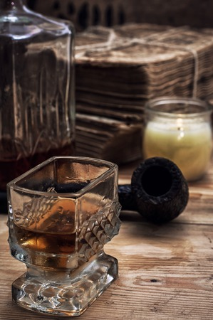 alcoholic drink: glass carafe with alcoholic drink of whiskey vintage style