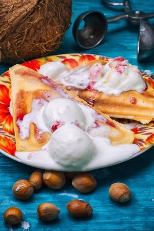 freshly baked waffle pecan coconut dessert with appendices ice cream .Shallow DOF Stock Photo