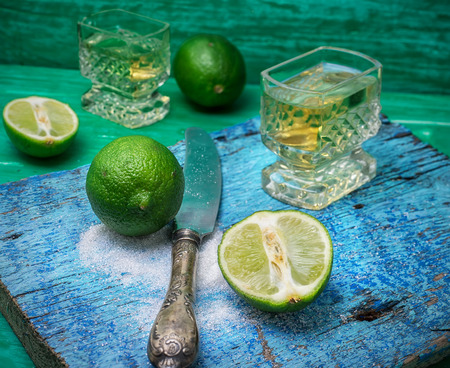 alcoholic drink: Selective focus.glass alcoholic drink and lime fruits