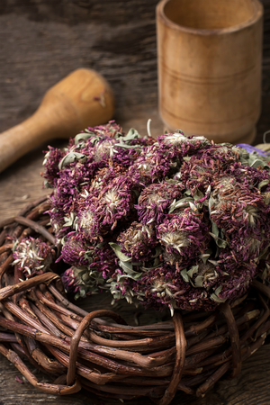 traditional medicine: dried herbs for traditional medicine in the rural style.Selective focus