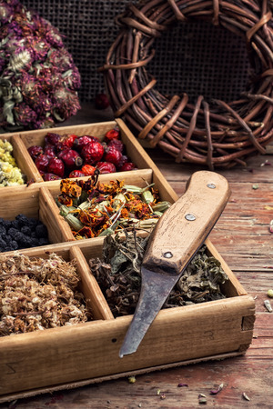 dualistic: wooden box with herbs traditional medicine from home kit in the rural style.Selective focus Stock Photo