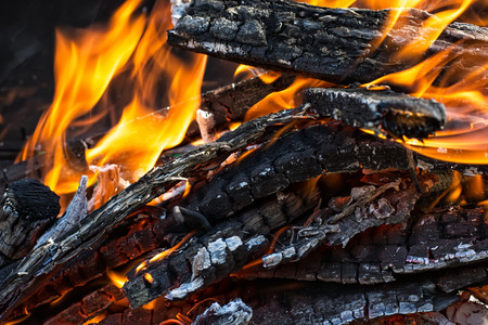 brazier: wood in the brazier flames.Selective focus