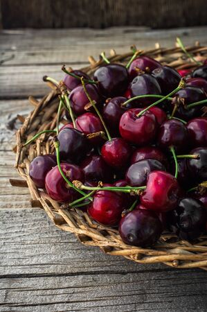 sappy: juicy and fresh berries June cherry.The image is tinted. Stock Photo
