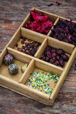 teas: box collected in the fall of medicinal herbs for teas and medicinal teas