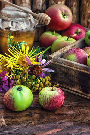 feast day: Still life from the harvest of ripe apples and honey to the Church celebration of the apple feast day