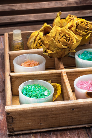 revitalize: Mineral flavored salt for relaxation and massage in retro style Stock Photo