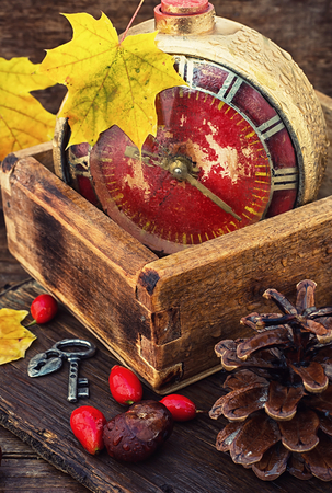arabic numerals: retro alarm clock with dial with arabic numerals on a background with maple leaves and wild roses Stock Photo