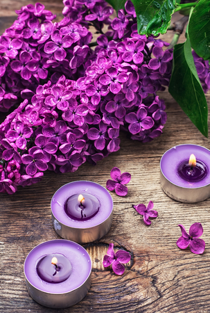 burning bush: Broken fragrant branch with lilac flowers and burning candles. Stock Photo