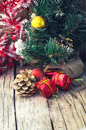 old fashioned christmas: Old fashioned Christmas decoration on wooden background stylish.