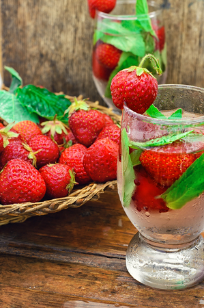 cool mint: Two glass with cool drink of strawberries and mint.