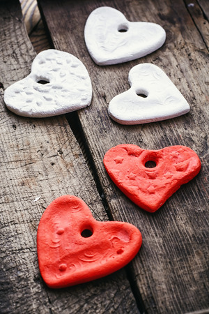 sculpted: Sculpted hearts made from salt dough handmade.Selective focus Stock Photo