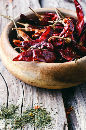 red chili pepper: Still life with dried peppers and assorted spices