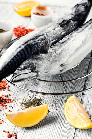Thawed fresh fish mackerel with spices and marinade.Photograph high key Stock Photo