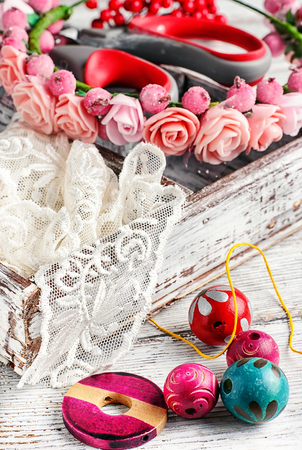 basket embroidery: Wooden box with jewelry and accessories for needlework and sewing Stock Photo