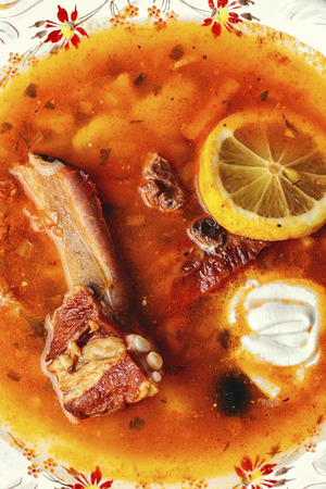saltwort: National Ukrainian dish is soup with smoked meat and lemon
