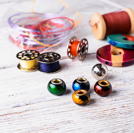 bead embroidery: beads and thread