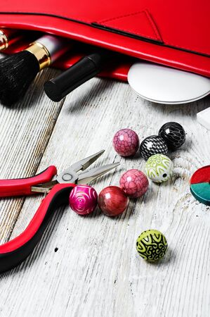 bead embroidery: Set of beads for jewelry and womens bag with cosmetics