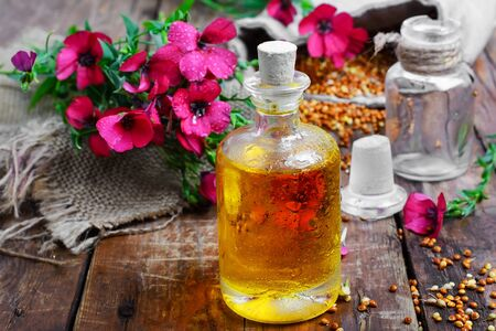 plant seed: Llano seed,plant with flowers and bottle of oil
