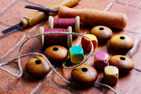 bead embroidery: Wooden jewelry beads