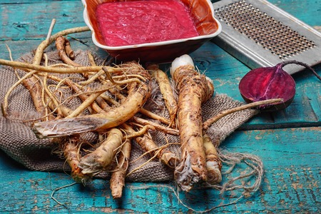 Tabasco spice from the roots of plant horseradish, country-style