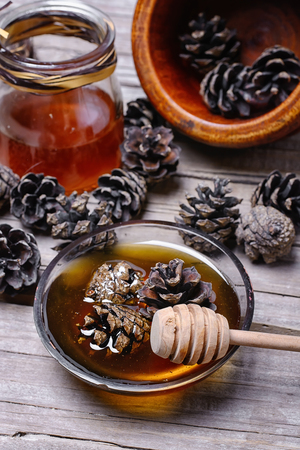 prophylactic: Healing jam made from fir cones to help against colds Stock Photo