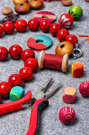 bead embroidery: Pliers and set of beads for crafts jewelry