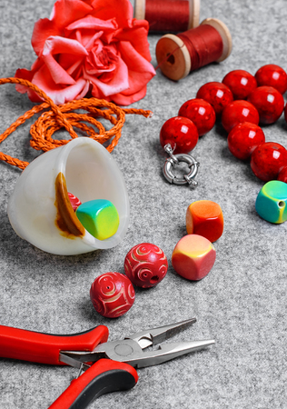 Pliers and set of beads for crafts jewelry