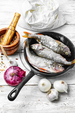 purified: Purified fish on cooking pan and spices