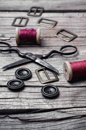 Buttons and fasteners from outdated clothes Stock Photo