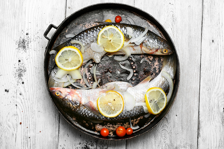 carcasses: Two carcasses of raw marine fish in seasonings and tomatoes