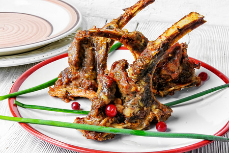 fragrant roast of lamb chops on the plate.