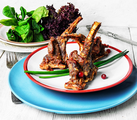 fragrant roast of lamb chops on the plate Stock Photo