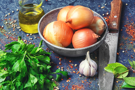 vegetables from onions, parsley and spices