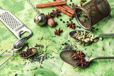 spices and ingredients for Indian masala tea