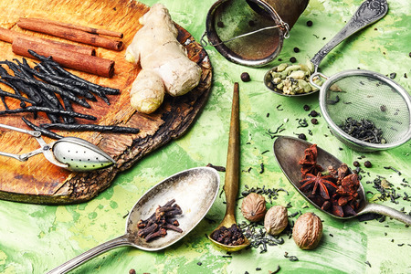 ginger,cinnamon and spices for an invigorating for the masala tea Stock Photo
