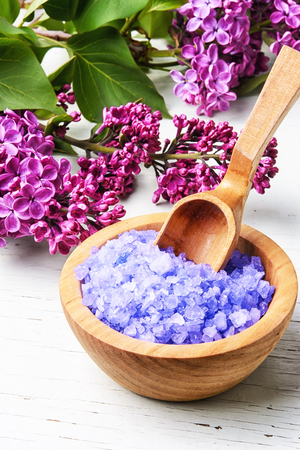 marine bath salt with the aroma of fresh blooming lilacs